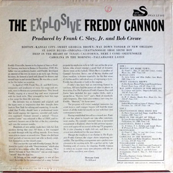 Freddy Cannon - Explosive LP Stereo Back Cover